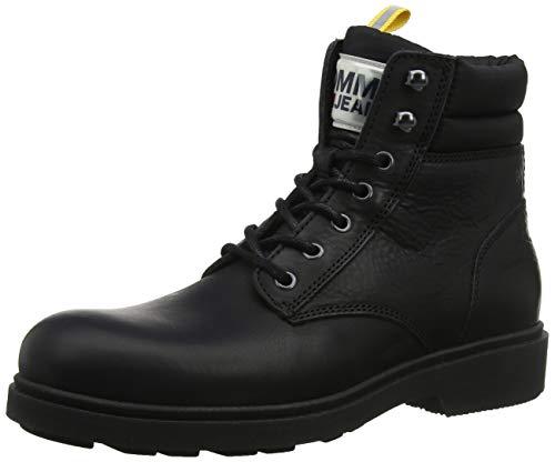 Tommy Hilfiger Herren Casual Leather Boot Klassische Stiefel, Schwarz (Black 990), 43 EU
