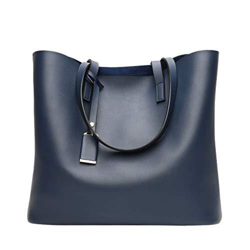 KIMODO® Handtasche Damen Retro Große Kapazitäts Tote Henkeltasche Einfarbig Freizeit Schultertasche Umhängetasche (Blau)