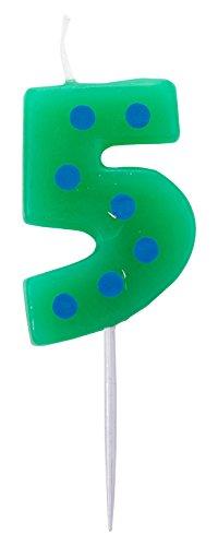 Amscan–99007934,5cm), diseño de lunares y rayas número 5vela de cumpleaños