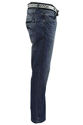 CrossHatch Herren Jeans Baltman Dw Belted Jean Mittlerer Waschung