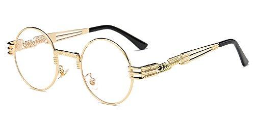 BOZEVON Estilo retro de Steampunk inspiró las gafas de sol redondas del círculo del metal para las mujeres y los hombres Dorado-Transparente