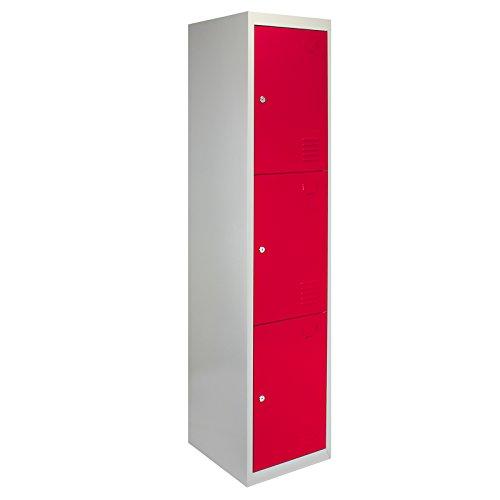 monstershop 3Tür Metall Aufbewahrung spinden, flach verpackt Rot & Grau Stahl abschließbar...