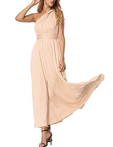FeelinGirl Longue Grande Taille Robe Longue Boheme Robe Longue Femme ete Robe cérémonie Femme Champagne M