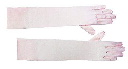 Das Kostümland 1 Paar Handschuhe Satin Rosa 40 cm - Zum Charleston Flapper Girl Show Karnevals Kostüm für Damen