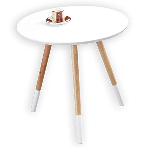 IDIMEX Sellette guéridon table d'appoint AGNES style scandinave plateau en MDF coloris blanc et pieds en bois massif vernis naturel/blanc