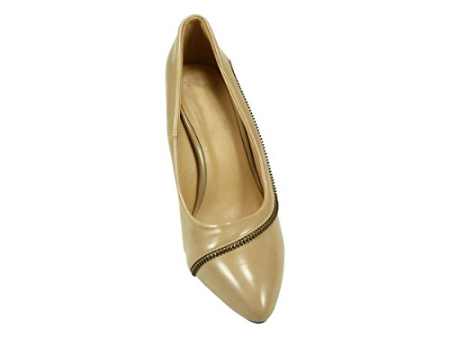Escarpin, chaussure femme à talon haut compensé pointu verni Taupe