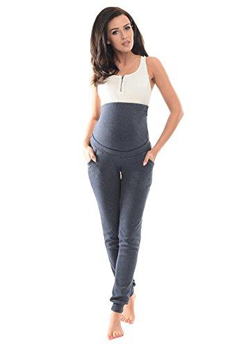 Purpless Damen Schwangerschafts Jogginghose Umstands-Sporthose Schwangerschaftshose mit Bauchband Umstandsmode 1307 (36, Navy Melange)