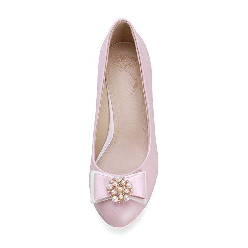 Solida toe Di Mettere Balamasa Gattino Pompe Gomma Per Rotonda scarpe Perla Rosa Sul tacchi Signore qpwvAa