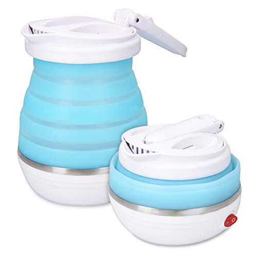 Navaris Faltbarer Reisewasserkocher 0,6l - 14 x 16cm - mit Transporttasche - Mini Dual Spannungswechsel Faltwasserkocher faltbar 750W für Camping