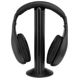EASYELETTRONICA Cuffie Stereo Wireless 5 in 1 Senza Fili WiFi Cuffia per Pc TV Audio Mp3 Radio FM CD