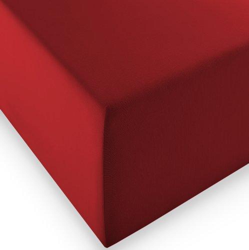 sleepling Komfort Jersey-Elastic Stretch Spannbettuch Spannbettlaken für Matratzen bis 30 cm Höhe (215 gr. / m²) mit 3{1ae57f0bc23abde8909d9a002f57d73e2a4bbf9535a8f71fc68287a378faa2cb} Elastan 180 x 200-200 x 220 cm, rot