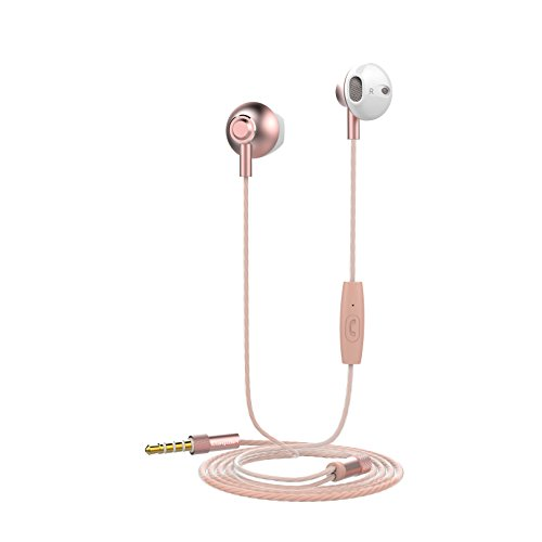 Auriculares Langsdom F9 Powerful Bass con Micrófono para iPhone, iPad, Samsung, Android, MP3 y Reproductores MP4 (con micrófono, Oro Rosa)