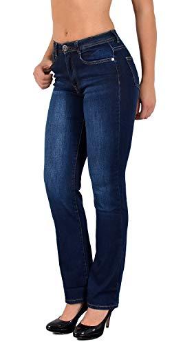 ESRA Damen Jeans Hose gerader Schnitt Straight Fit Jeans bis Übergröße Übergrösse Gr. 52, 54, 56# J260