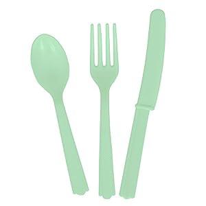Unique Party Cubiertos de plástico para 6 Color verde menta 18ct 99220