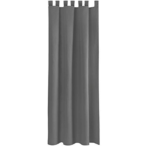 Bestlivings Gardine Vorhang Blickdicht modern mit Schlaufen Schlaufenschal Mikrosatin matt, in vielen Größen, Auswahl DUNKEL-GRAU in der Größe: B-140cm x L-175cm -