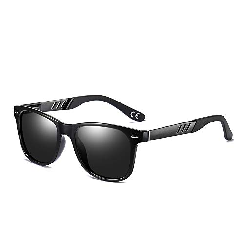 BLEVET Retro Herren Polarisierte Sonnenbrille Fahrer Brille UV400 Schutz BX011 (Black Frame Black Temple)