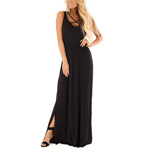 ♥ Loveso Bekleidung für Damen,Frauen Sommer Ärmellos Crop Maxikleid Einfarbig Party Kleid Öffnen Saum Maxikleid Casual Bekleidung Kleid