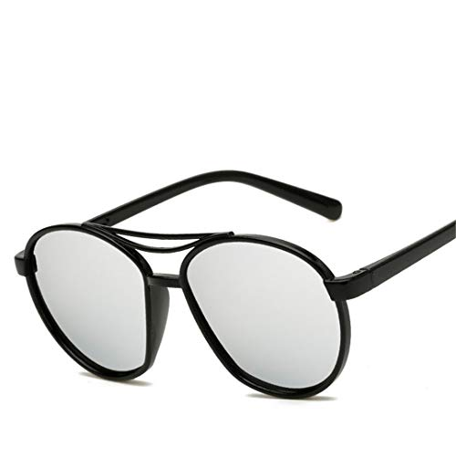 DAIYSNAFDN Sonnenbrillen Damen Große Rahmen Spiegel Gläser Kunststoff Lady Sun Glasses Uv400 Black White