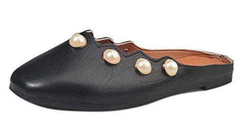 Baotou chaussures à talons bas perle semi-remorque sandales plates et pantoufles femme paresseuse Black