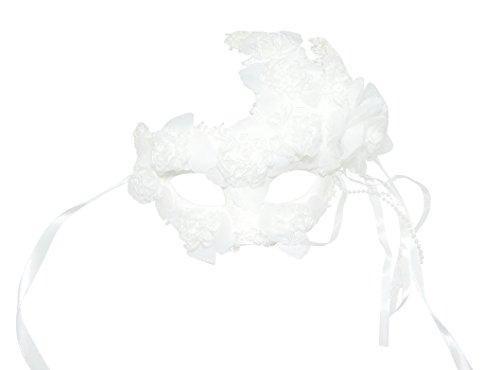 Wunderschöne, von Hand dekoriertes Damen weiß Engel Fee/Prinzessin, für die Braut, Abendgarderobe Maskerade Maske, Chiffon, Schwarz mit Blumenmuster