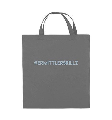 Comedy Bags - #ERMITTLER$KILLZ - Jutebeutel - kurze Henkel - 38x42cm - Farbe: Schwarz / Pink Dunkelgrau / Eisblau