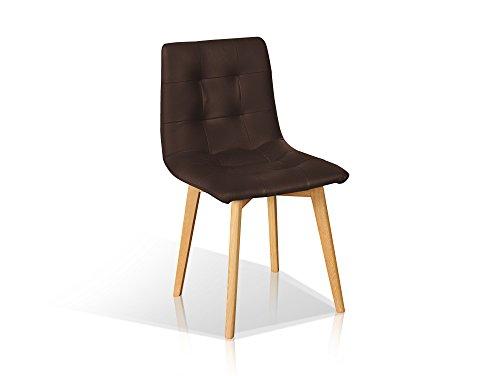 Eiche Esszimmer-möbel (moebel-eins Marvin Echtleder Polsterstuhl Esstischstuhl Stuhl Esszimmerstuhl in braun Fußgestell Eiche, braun, Eiche)
