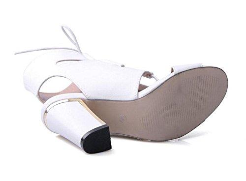 GLTER Le donne Peep Toe Ankle Strap Sandals pompe tacco ultra-confortevole facile da indossare Croce cinghie oro Rims-tacco alto scarpe da donna pompe Scarpette Bianco Nero White