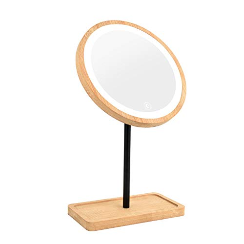 XYDESIGN Espejo de Maquillaje con led de Madera con Espejo de Belleza Retro Estilo Mesa de Carga Ligera...