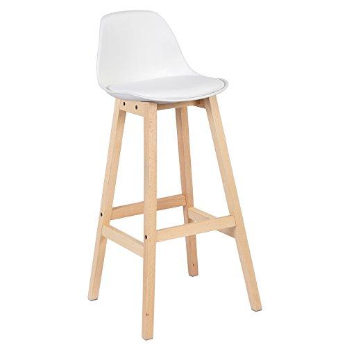 WOLTU® BH44ws-1 1 x Barhocker 1 Stück Barstuhl aus Kunststoff Kunstleder Holz mit Lehne Design Stuhl Küchenstuhl Weiß