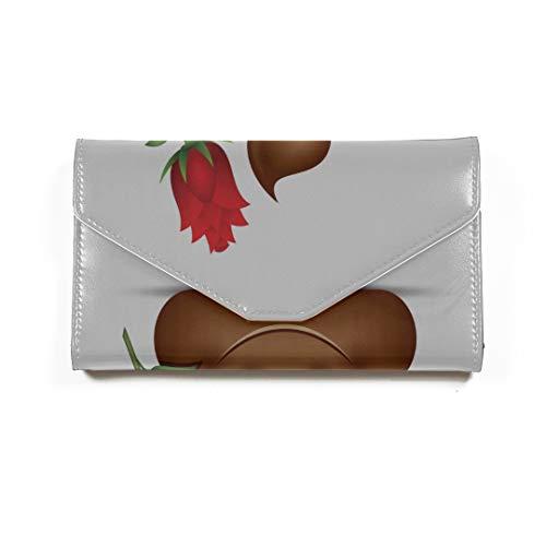 Poo Emoticon Holding rote Rose Emoji Poop Gesicht Reisepass Brieftasche dreifach gefaltete Dokument Veranstalter Inhaber Fall Reisepass Inhaber Uns Reisepass Abdeckung Kunststoff (Poop Gesicht)
