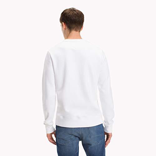 Tommy Hilfiger Herren Sweatshirt Tommy Logo, Weiß (Bright White 100), Medium