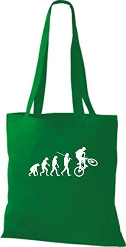 Shirtinstyle Borsa Di Stoffa Jute Evolution Moto Bike Biking Stunt Freebike Biker Vari Colori Kelly