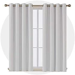 Deconovo Lot de 2 Rideaux Occultants de Bureaux à Oeillets Isolant Thermique 117x138cm Blanc Gris