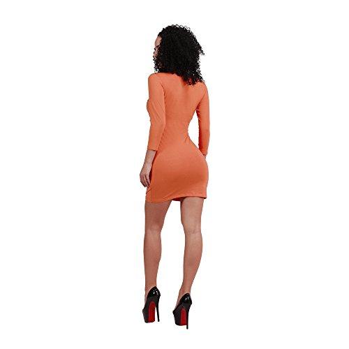 JOTHIN Damen Bodycon Club Kleid Knielang Einfarbige V-ausschnitt Kleid Etuikleider Langarm Eng kleid Partykleid Bleistift Kleid Rot