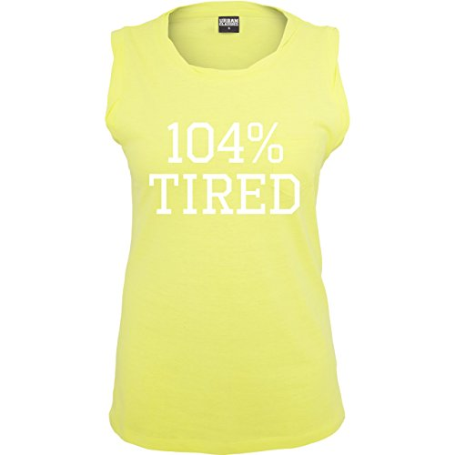 Statement Shirts - 104% tired - ärmelloses Damen T-Shirt mit Brusttasche  Neon Gelb