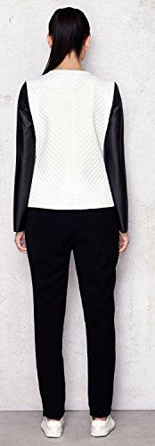 Capri Moda – Damen Reißverschluss Jacke Gesteppt Design Kunstlederärmeln – A110 - 6