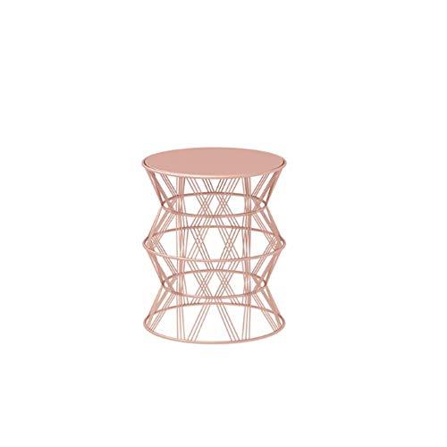 Schreibtische HAIZHEN Einfacher Beistelltisch Schmiedeeisen Mittlerer hohler Couchtisch Kleines Apartment runder Tisch, 48 * 56cm (3 Farben) Klapptisch (Farbe : Weiß) (Klapptisch Runde 48)