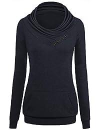 Dasbayla Damen Oberteile Langarm Sweatshirt Pulli Pullover Tasten Rollkragen Tshirt Top