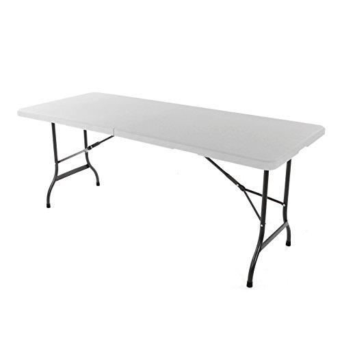 Bierzeltgarnitur 1 Partytisch 2 Bänke klappbar weiß 180 cm Gartengarnitur Set Festzelt Campingset Klapptisch 180×74 cm robust wetterfest - 4
