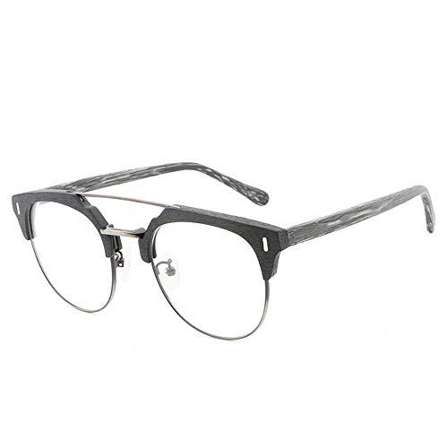Yiph-Sunglass Sonnenbrillen Mode Frame Vintage Fashion Casual Holz Gläser Plain Gläser handgefertigte Holzplatte Gläser (Color : 02 schwarz, Size : Kostenlos)