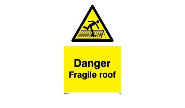 Danger Fragile Roof Sticker Sign Safety Office Industrial New 195mmx145mm