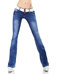 553abd1ca4aa92 Label by Trendstylez Damen Bootcut-Jeans Hose breiter Stretch-Gürtel Blue  Washed W-