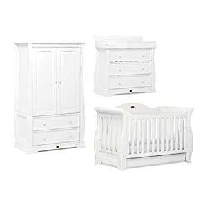 Boori Sleigh Royale 3 Piece Nursery Room Set, Wood, Barley White   1