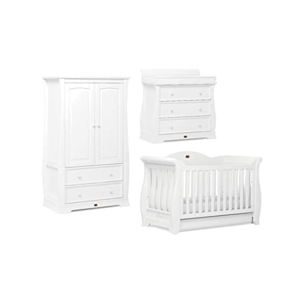 Boori Sleigh Royale 3 Piece Nursery Room Set, Wood, Barley White Boori Boori 3 piece nursery furniture set including the Sleigh Royale Cot Bed, Sleigh 3 Drawer Dresser with removable changing station and Sleigh Wardrobe. Cot bed made with 100% sustainable solid wood, dresser and wardrobe made with sustainable solid wood parts. All Boori cot beds convert to a toddler bed suitable from birth to 5 years. (Toddler Guard Panel available separately). 1