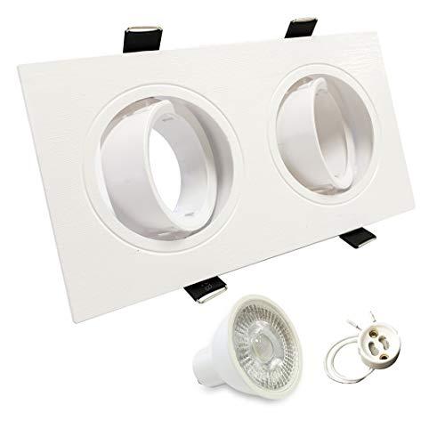 Foco empotrable doble orientable incluye bombillas GU10 7W y casquillos. Luz de...
