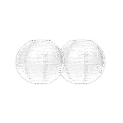 Maxi Products Papier Lampions Laterne Lampenschirm Hochzeit Party Dekoration Ballform - Weiß - Ø 30 cm