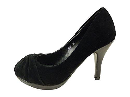 Scarpe Scarpe da donna a forma di nodo, piatto e tacchi alti in pelle scamosciata Nero
