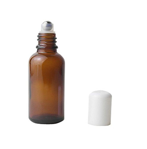 0.5 Unze Pumpe (3 Stück Upscale leere nachfüllbare Brown Glas Roll auf Flaschen ätherisches Öl Parfüm Roller Flaschen Vial Attar Flasche Container Topf Jar mit weißen Cap und Metall Roller Ball (15ml))