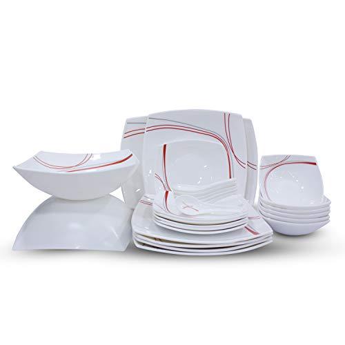 Soogo Opalware Dinner Set, 27-Pieces, Red