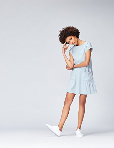 FIND Damen Kleid Pocket Dress Blau (Sky Blue)